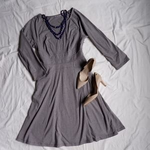 3/4 sleeve fit and flare gray dress
